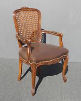 Vintage French Provincial Style Carved Wood Brown Cane Back Accent Chair