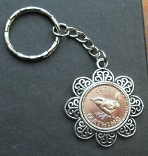 1938 80th birthday Lucky Farthing Pendant Charm key ring present a free gift box
