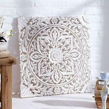 Wandbild Weiß  Ornamente Handarbeit Holzbild Holzschnitzerei Shabby Chic Stil