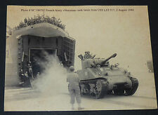 CPA GUERRE 39-45 AOUT 1944 SHERMAN TANK ARMEE FRANCAISE USS LST-517