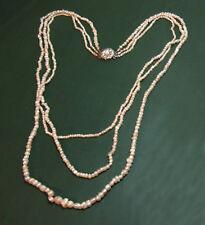 Wunderbare antike Jugendstil FLUSSPERLENKETTE 3reihig 1920• 333 Gold Perlenkette
