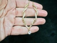 Vintage-Gold Tone Twist Design Rhinestone Dangle Glamour Necklace