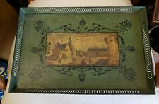 Antique Toleware  ~ Green Tray!~ Hand painted~ *Town Scene*  Free  SHIP!