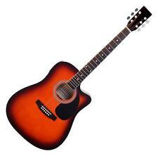 Guitare Electro Acoustique Folk Cutaway XLR Jack 3 Bandes EQ Accordeur Sunburst