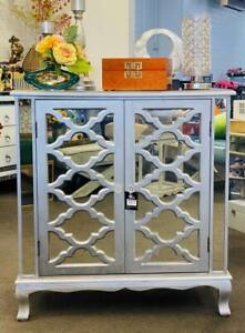 Side Table / Mirrored Cabinet 2 Doors/ Silver Grey- 80*36*88 Height