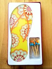 Two's Company Yellow Flip Flop Serving Board +20 Appetizer Picks in Gift Box NEW
