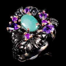 Handmade Natural Emerald 925 Sterling Silver Ring Size 7.5/R119225