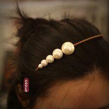 Epingle à Cheveux Cink Perle Blanche Marron Baroque Ancien Vintage Original