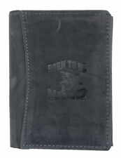 Men's gray genuine leather wallet Born to be wild with shark. Ship Worldwide.