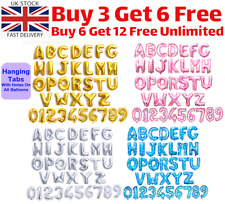 "Gold & Silver 16"" Alphabet Letter Number Personalised Name A-Z Foil Balloons UK"