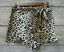 Derek Heart Shorts Jr Womens Size Large Tie Front Cheetah Stretch Shorts New