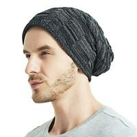 Oversized Ski Slouch Hat Fashion Mens Knitted Cap Baggy Beanies Winter Warm BL3