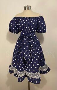 Eloise Peasant Dress Medium Navy White Polkadot Lace Empire Waist Rockabilly