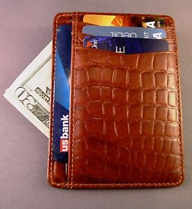 Top quality ENGLISH TAN croco embossed leather mini front pocket wallet - RFID