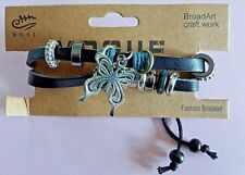 "HIPPY Adjustable Genuine Leather "" Butterfly ""  Bracelet Bangle Wristband Cuff"