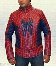 Spider Man  Biker Red Synthetic Leather Jacket size Small-4XL Men