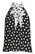 NWT Alice + Olivia Liana Bow Neck Polka Dot Blouse Black White SZ XL $285