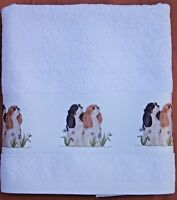 CAVALIER KING CHARLES SPANIEL DOGS LARGE HAND/GUEST TOWEL TRI BLENHEIM ART PRINT