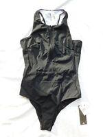 NWT Rip Curl Mirage Ultimate Zip Racerback One Piece Swimsuit sz L Black  17119