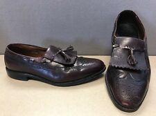 Allen Edmonds 10.5 E ARLINGTON Men Burgundy Tassel Kiltie Wing Tip Loafers Shoes