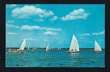 Clear Lake Iowa IA 1950 Sail Boat Races from Lake Towards City Dock, Old Pontoon