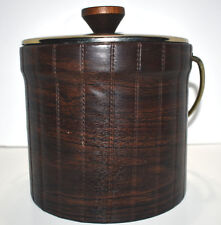 Ice Bucket Vintage Faux Leather Mid Century Wood Grain Style Plastic Insert