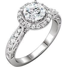 1.15 carat Round Diamond Halo Engagement 14K White Gold Ring D-E SI1 #20