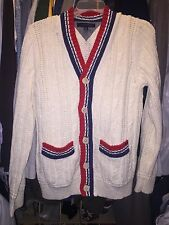 Vtg Tommy Hilfiger Cardigan Red White Blue Flag Cable Knit Sweater Men's Size M