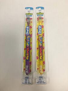 ( 2 ) Super Rare Oral B Elmo Sesame Street Soft  ToothBrush Purple & Yellow