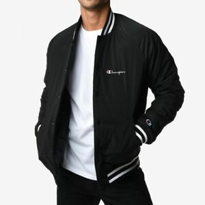 Champion Reverse Weave Satin Bomber Jacket Men's Black White Outwear Activewear