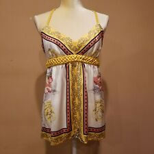 Arden B. Women's Blouse Yellow Floral Sleeveless Size M EUC