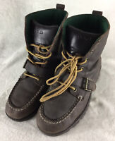 RALPH LAUREN POLO Ranger Hi Top Boots Brown Leather Lace Up 97671 Boy's Size 6
