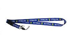 ITALIA ITALY BLUE COUNTRY FLAG LANYARD KEYCHAIN PASSHOLDER ..  NEW
