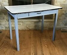 Vintage 1930's Wooden Farmhouse Hoosier Table with Original Enamel Porcelain Top