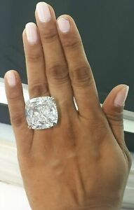 Sterling Silver 50ct White Cushion Solitaire Party Cz Ring New -Magnifique