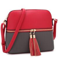 Dasein Women Messenger Shoulder Bag Handbags Faux Leather Crossbody Medium Purse