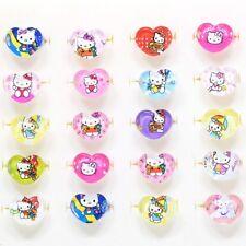 6 Pc Hello Kitty Heart Rings Cartoon Jewelry For Kids Children 61-1