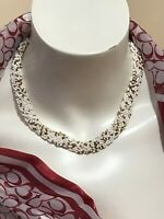 Vintage Multi-Strand WOVEN Design WHITE Glass Seed Necklace 16""