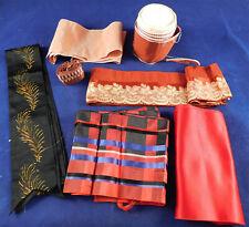 Vintage Victorian Silk Damask Painted Grosgrain Ribbon Millinery Dress Trim Lot