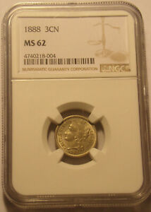 1888 Three 3 Cent Nickel NGC MS 62 ........Free Shipping....Lot#7095