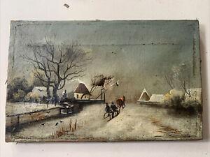 Antique Russian Oil Painting - Folk Art - Renovation