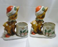 Set Of Two 1978 Kitschy Jasco Christmas Little Reindeer Votive Candle holder