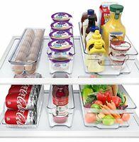 6 Pack Refrigerator Organizer Bins Set - Fridge & Pantry Clear Stackable Storage