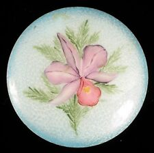 VINTAGE FINE GUILLOCHE ENAMEL TILE HAND PAINTED ART EP PALIN PINK FLOWER ORCHID