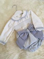 SPANISH STYLE BABY GIRLS BLUE IVORY SMOCKED BLOUSE MATCHING JAM PANTS WITH LARGE