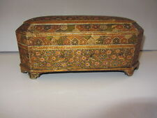 ANTIQUE KASHMIR WOODEN POLYCHROME PAINTED BOX CASKET