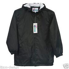 Children Kids Raincoat Windbreaker Jacket Towel Lined Black Size 6
