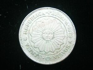 PERU 20 CENTAVOS 1879 SUN of MAY PERUANA NICE 3958# BANK MONEY COIN