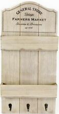 "Shabby Chic Rustic Vintage ""General Store"" Shelf Wall Unit & Hooks Keys  Letters"