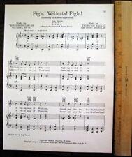 "UNIVERSITY OF ARIZONA Vintage Song Sheet c 1953 ""Fight! Wildcats! Fight!"""